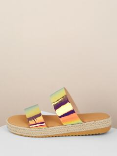 Double Iridescent Band Flatform Slide Sandals