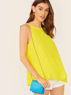 Back Keyhole Sleeveless Pleated Chiffon Top