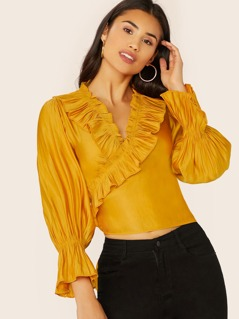 Ruffle V-Neck Flounce Sleeve Wrap Pirate Blouse