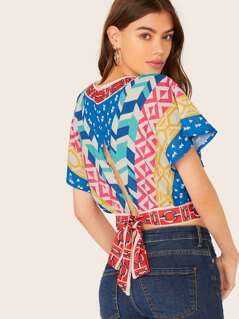 V-Neck Back Keyhole Waist Tie Abstract Print Top