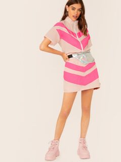 Zip Front Chevron Colorblock Jacket And Skirt Set