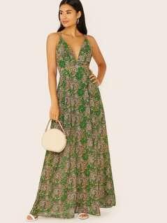 V-Neck Sleeveless Paisley Chiffon Maxi Dress