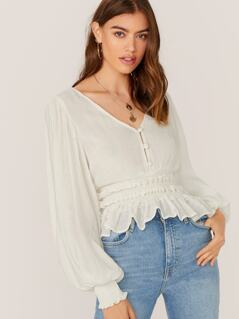 V-Neck Smocked Waist Bishop Sleeve Blouse