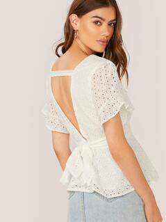 Back Cut Out Waist Tie Embroidered Eyelet Blouse