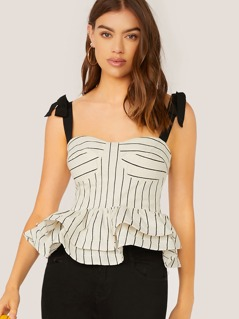 Sleeveless Peplum Hem Stripe Top