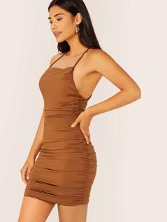 Sleeveless Slinky Knit Ruched Mini Dress