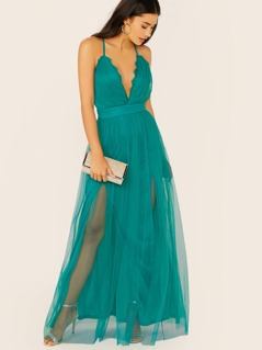 Sleeveless Lace Trim V-Neck Tulle Mesh Maxi Dress