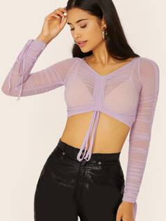 Sheer Mesh Long Sleeve Drawstring Ruched Top
