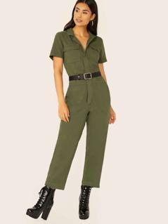 Button Front Flap Pockets Utility Denim Jumpsuit