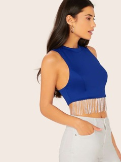 Rhinestone Crystal Fringe Trim Crop Tank Top