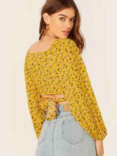Ditsy Floral V-Neck Wrap Tie Back Blouse