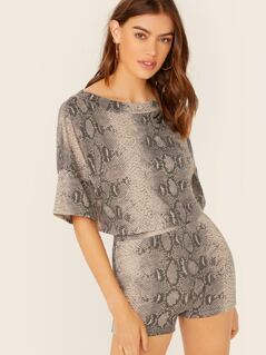 Snakeskin Crop Tee And Shorts Set