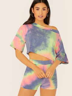 Tie Dye Crop Sweatshirt And Sweatshorts Set