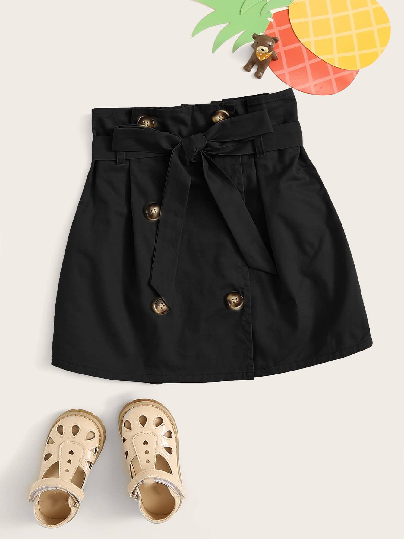 Фото - Двухбортная юбка с поясом и присборенной талией для девочек от SheIn черного цвета
