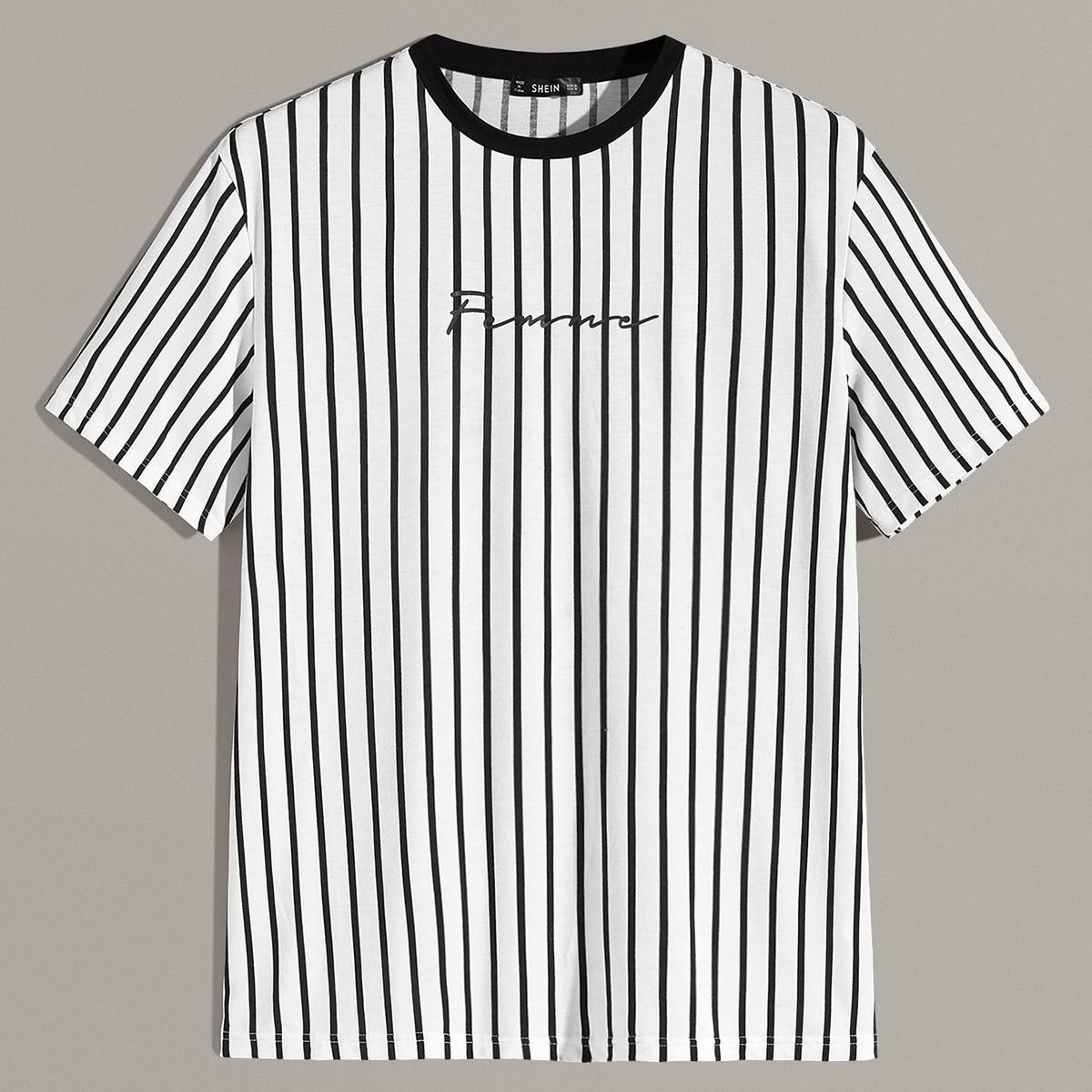 Zwart & wit Casual Gestreept Shirts mannen