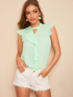 Mock-Neck Ruffle Trim Peekaboo Top