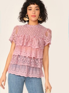 Keyhole Back Embroidered Mesh Layered Top