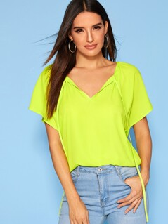 Neon Green Tie Front Flutter Sleeve Top