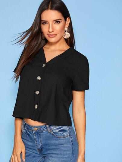 Фото 8 - Мужская рубашка с контрастной отделкой от SheIn черного цвета