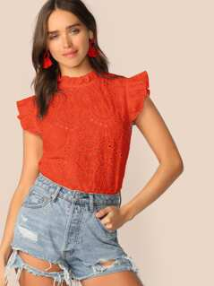 Neon Orange Ruffle Trim Schiffy Top