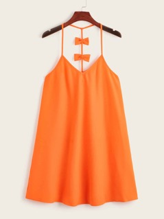 Neon Orange Bow Racerback Slip Dress