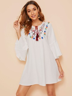 Tassel Trim Embroidered Flower Fringe Tie Neck Dress