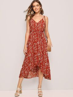 Asymmetrical Hem Wrap Belted Slip Dress