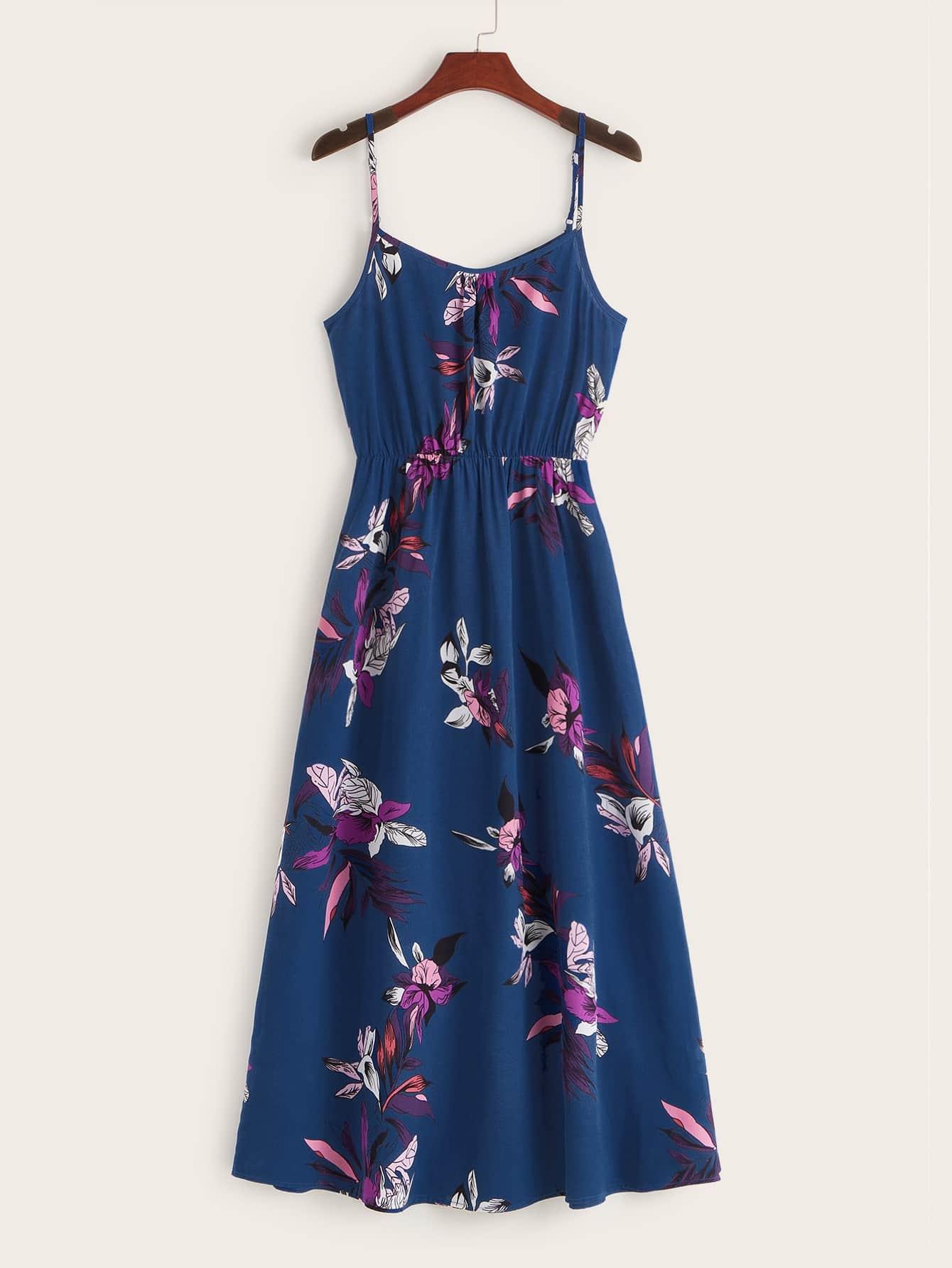 Фото - Платье с цветочным принтом и высокой талией от SheIn цвет тёмно-синие