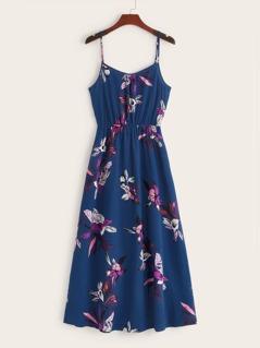 Floral Print High Waist Slip Dress