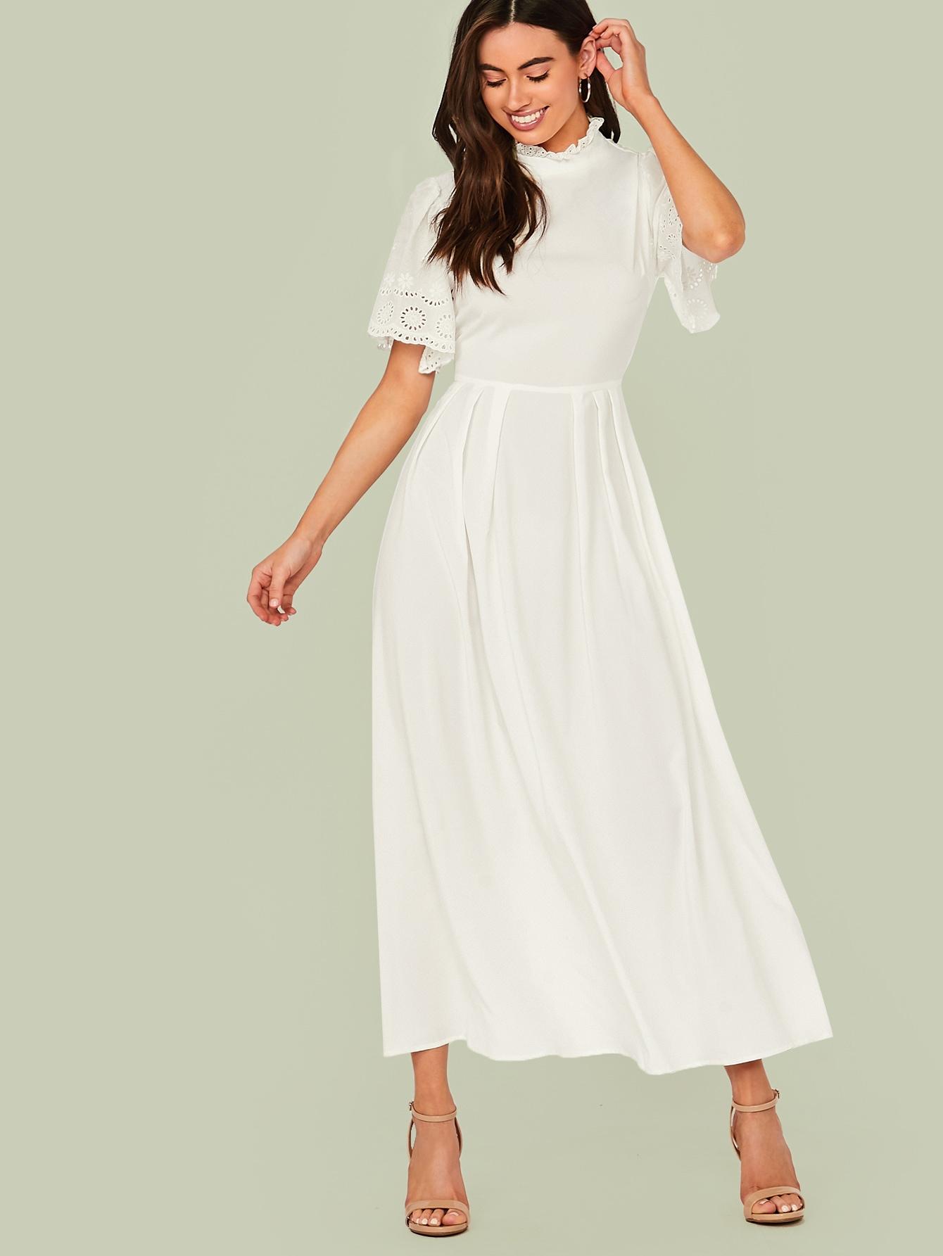 Фото - Расклешенное длинное платье от SheIn цвет белые