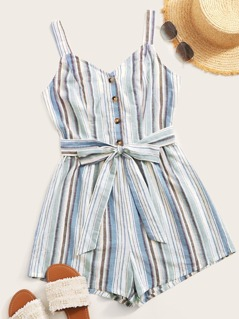 Button Front Striped Belted Romper