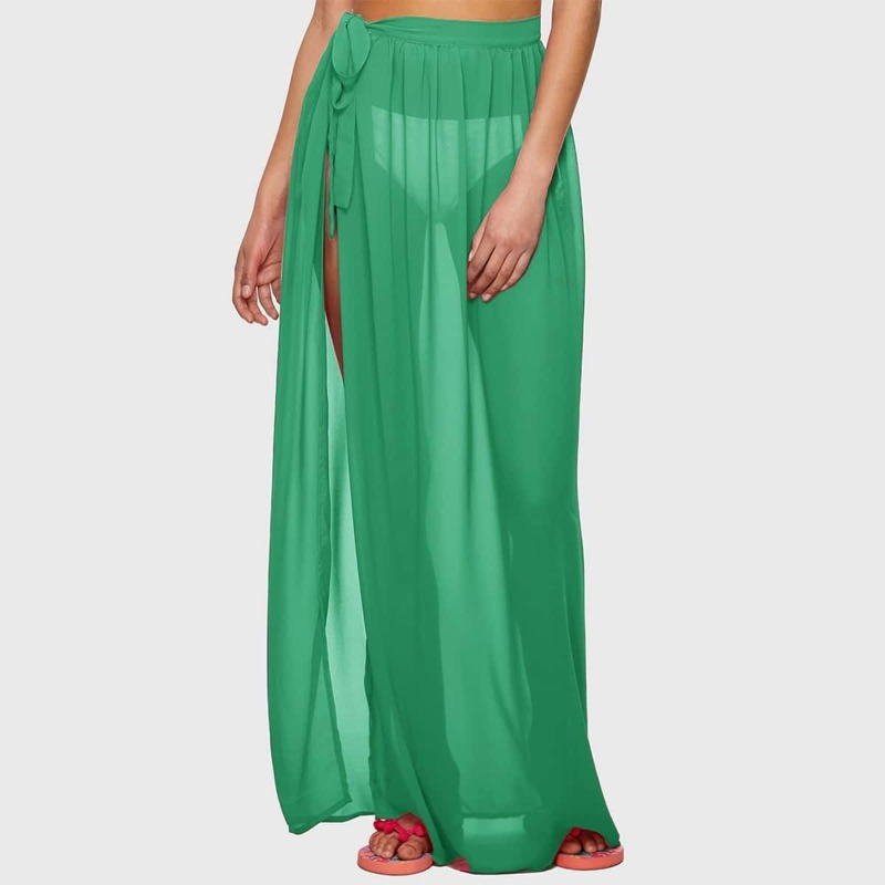 Tie Side Sheer Cover Up Skirt Without Panty, Green