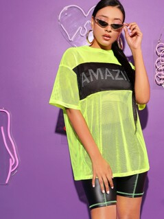 Neon Yellow Letter Color-block Mesh Top