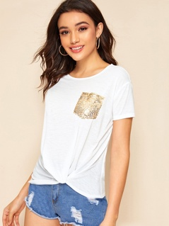 Twist Hem Sequin Pocket Patched Top