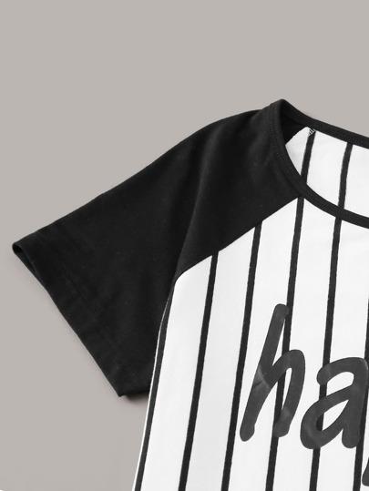 Фото 12 - Брюки и футболка в полоску с текстовым принтом от SheIn цвет чёрнобелые