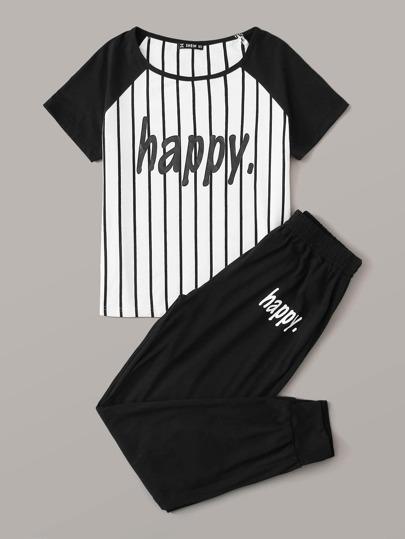 Фото 11 - Брюки и футболка в полоску с текстовым принтом от SheIn цвет чёрнобелые