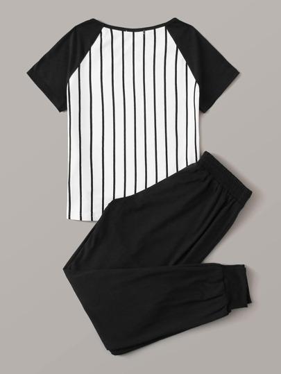 Фото 10 - Брюки и футболка в полоску с текстовым принтом от SheIn цвет чёрнобелые