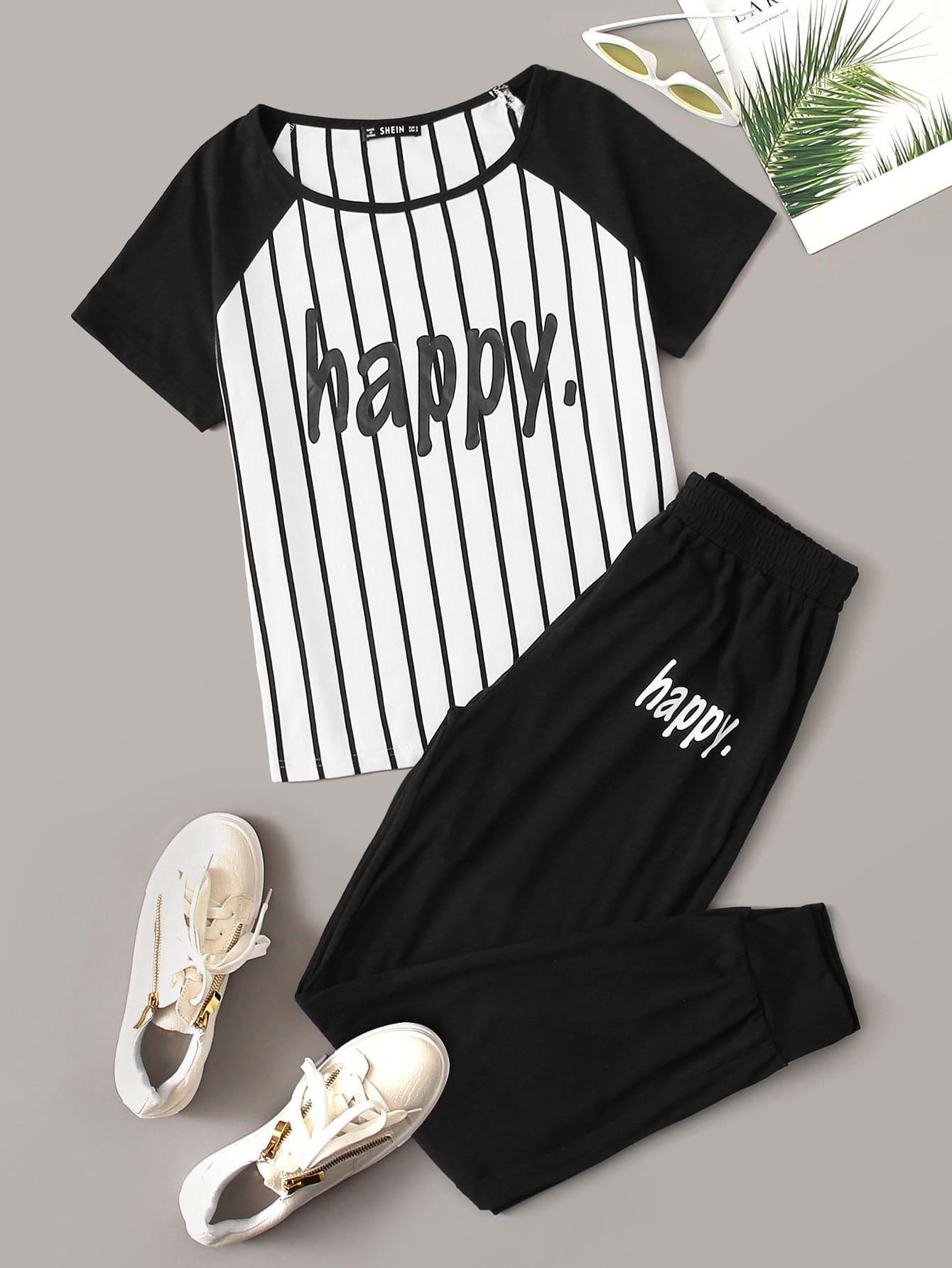 Фото 9 - Брюки и футболка в полоску с текстовым принтом от SheIn цвет чёрнобелые