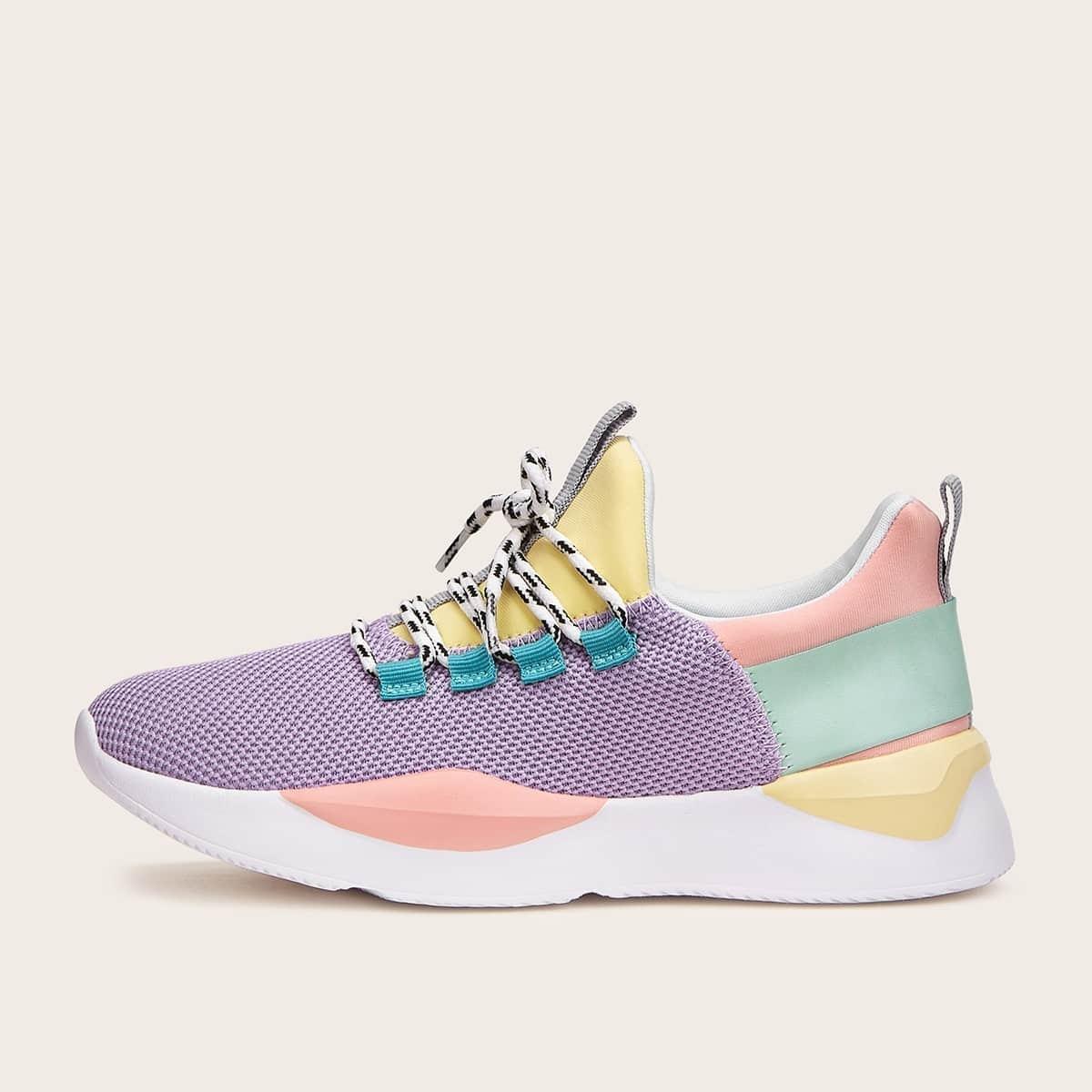 Контрастные вязаные кроссовки на шнуровке от SHEIN
