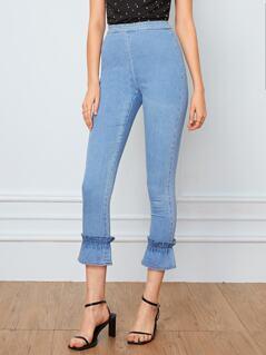 Zip Back Ruffle Hem Skinny Jeans