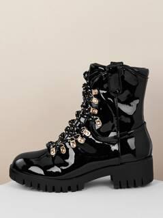 Lace Front Grommet Lug Sole Patent Combat Boots