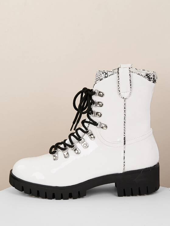 30ed3fe381191 Lace Up Snake Trim Lug Sole Military Patent Boots | MakeMeChic.COM