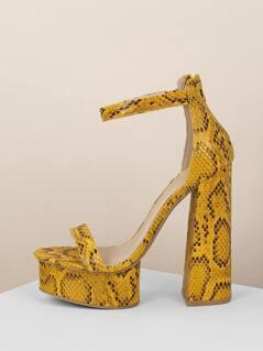 Snake Ankle Strap Platform Chunky Heel Sandals