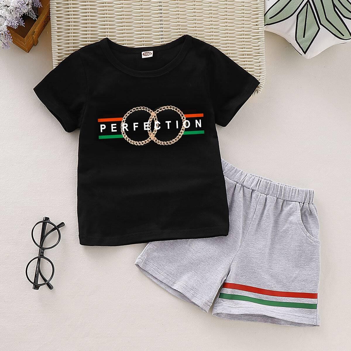 Шорты в полоску и футболка с текстовым принтом для мальчиков от SHEIN