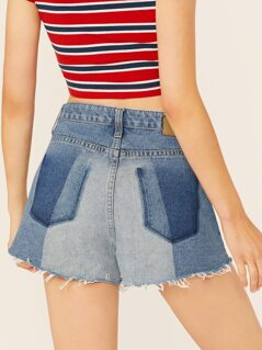 Button Fly Fade Pocket Effect Raw Hem Denim Shorts