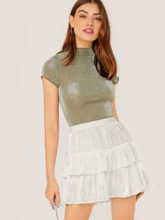 Elastic Waist Sheen Tiered Ruffle Skort Skirt