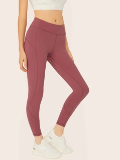 Solid Stretch Knit Top Stitched Cropped Leggings