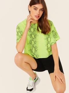 Crew Neck Raw Hem Neon Snake Print T-Shirt