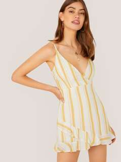 Surplice Neck Sleeveless Stripe Ruffle Romper