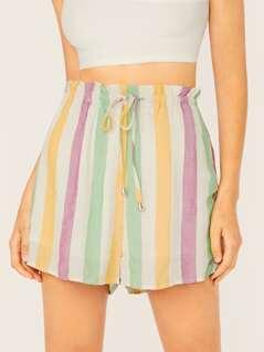Elastic Drawstring Waist Striped Shorts